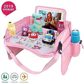 Kinderreisetablett Kinder Snack,wasserdichte Reise Tablett Auto Organizer Pink
