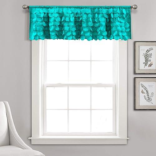Lush Decor Lush D cor, Turquoise Gigi Valance Textured Window Kitchen Curtain Single , 14 x 70