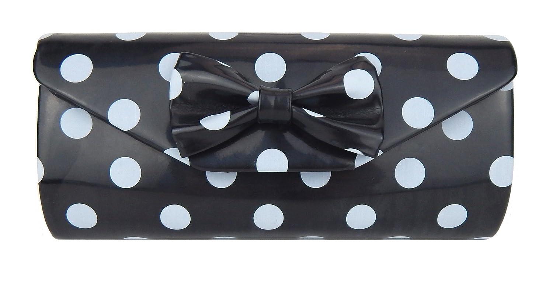 Ella Jonte Tasche schwarz Rockabilly hellgraue Punkte Handtasche Retro Clutch T170802
