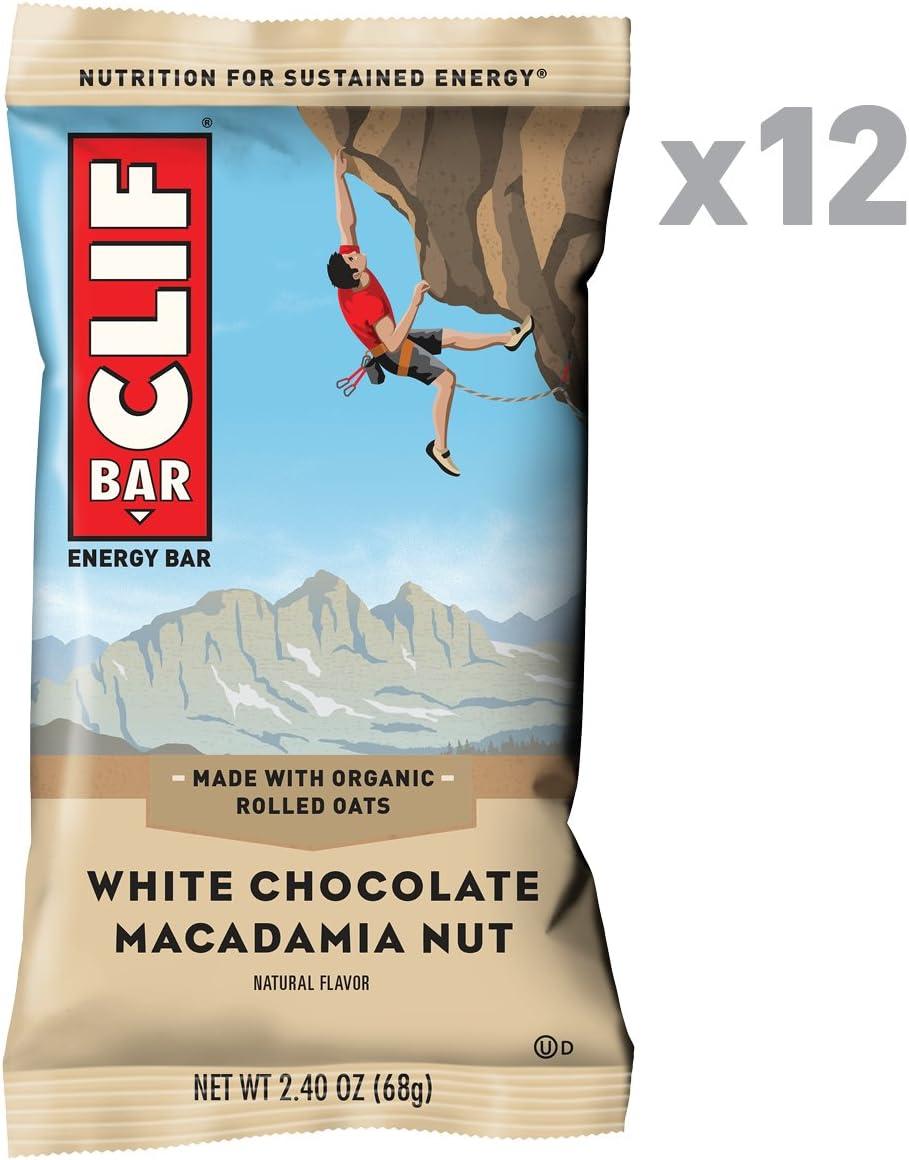 CLIF BAR - Energy Bar - White Chocolate Macadamia Flavor - (2.4 Ounce Protein Bar, 12 Count)