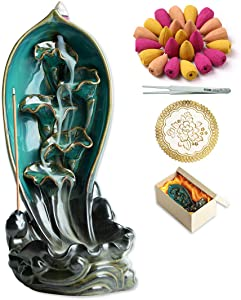 INONE Lotus Fish Backflow Incense Burner Waterfall Ceramic Incense Holder for Aromatherapy Ornament Home Decor