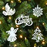 White Christmas Decorations – Set of 39 Sparkling Glittery Christmas Tree Ornaments - Trees, Doves, Angels, Snowflakes, Merry Christmas – Shatterproof Ornaments