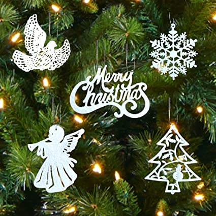 banberry designs white christmas decorations set of 39 sparkling glittery christmas tree ornaments trees - Amazon Christmas Decorations
