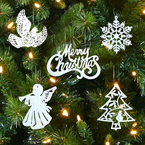 White Christmas Tree Design.Banberry Designs White Christmas Decorations Set Of 39 Sparkling Glittery Christmas Tree Ornaments Trees Doves Angels Snowflakes Merry