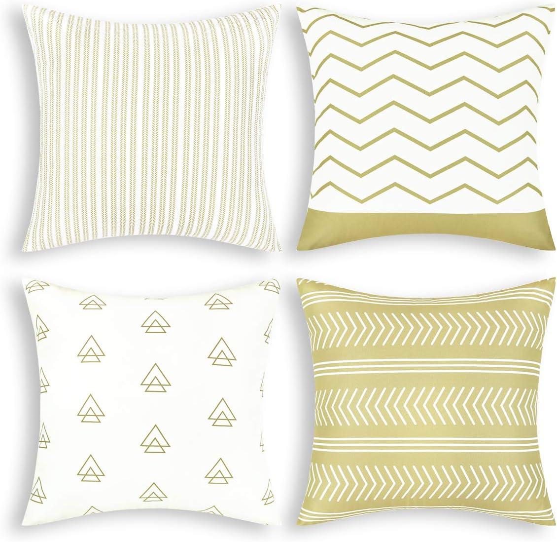 Amazon Com Fascidorm Set Of 4 Pillow Covers Throw Pillow Case 18 X 18 Inch Decorations Sofa Throw Pillow Case Cushion Covers Zippered Pillowcase Khaki 18 X 18 Home Kitchen