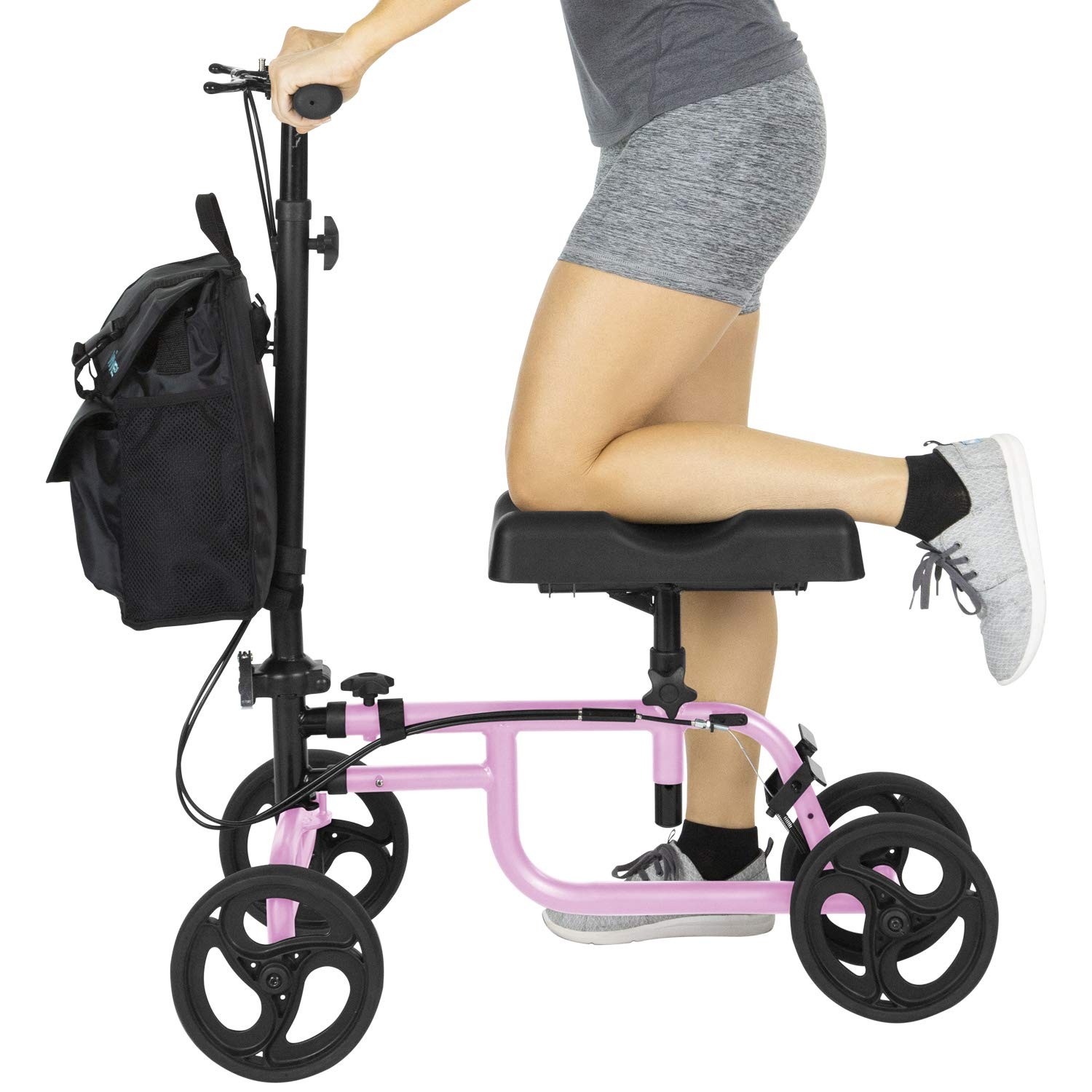 Vive Knee Walker - Steerable Scooter For Broken Leg, Foot, Ankle Injuries - Kneeling Quad Roller Cart - Orthopedic Seat Pad For Adult and Elderly Medical Mobility - 4 Wheel Caddy Crutch - Bag Included by Vive