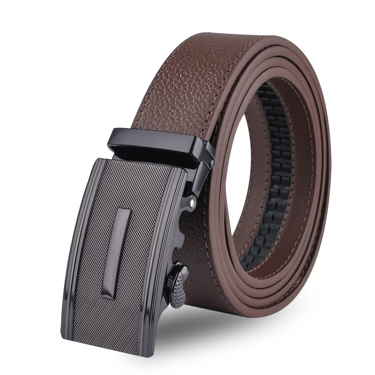 Men Designer Belt Sliding Buckle Ratchet Belt 35mm Wide 1 3/8'' Great Gift Idea