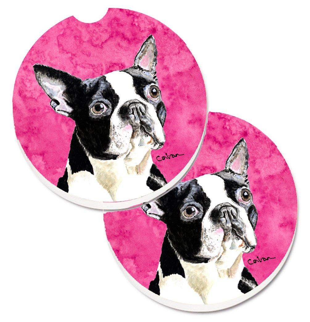 Caroline\'s Treasures Pink Boston Terrier Set of 2 Cup Holder Car Coasters SC9140PKCARC, 2.56, Multicolor