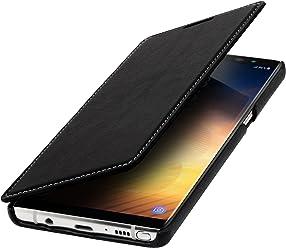 StilGut Book Type Case, Custodia per Samsung Note 8 a Libro Booklet Custodia Orizzontale, Cover Apertura Laterale in Vera Pelle, Nero Nappa