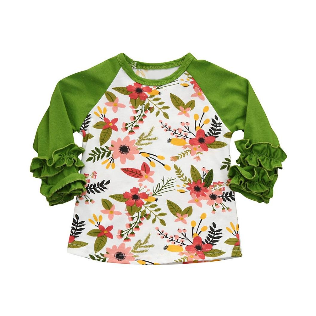 FANOUD Kids Baby Girls Floral Ruffles T Shirt Tops Clothes Outfits