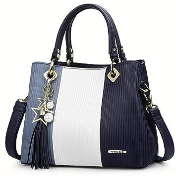 974232d5b4591 Pomelo Best Damen Handtasche Mehrfarbig gestreift Umhängetasche Shopper  Tote Henkeltasche (Marineblau)