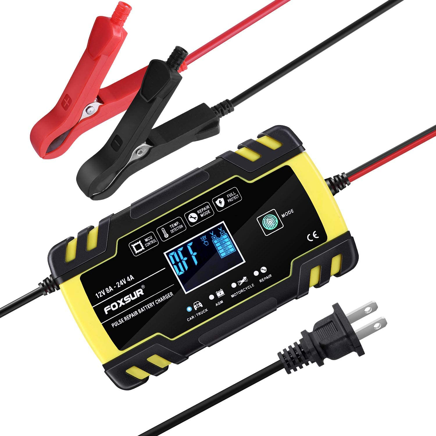 Motorcycle Lead-Acid Truck Lawn Mower LiFePO4 Battery Automatic Car Battery Charger and Maintainer 12V 6A // 24V 3A Lithium Smart 7-Stage LCD Display Automotive Trickle Charger for Car Battery