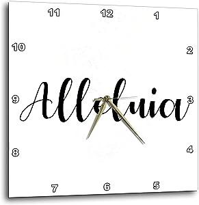 3dRose Alleluia wriiten in Black Script on a White Background. - Wall Clocks (DPP_328219_1)