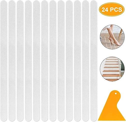 YouJia 24 Piezas Tiras Antideslizantes para Bañera y Ducha, Transparente Autoadhesivas Antideslizantes Pegatinas de Tiras de Seguridad para Baño y Escaleras: Amazon.es: Hogar