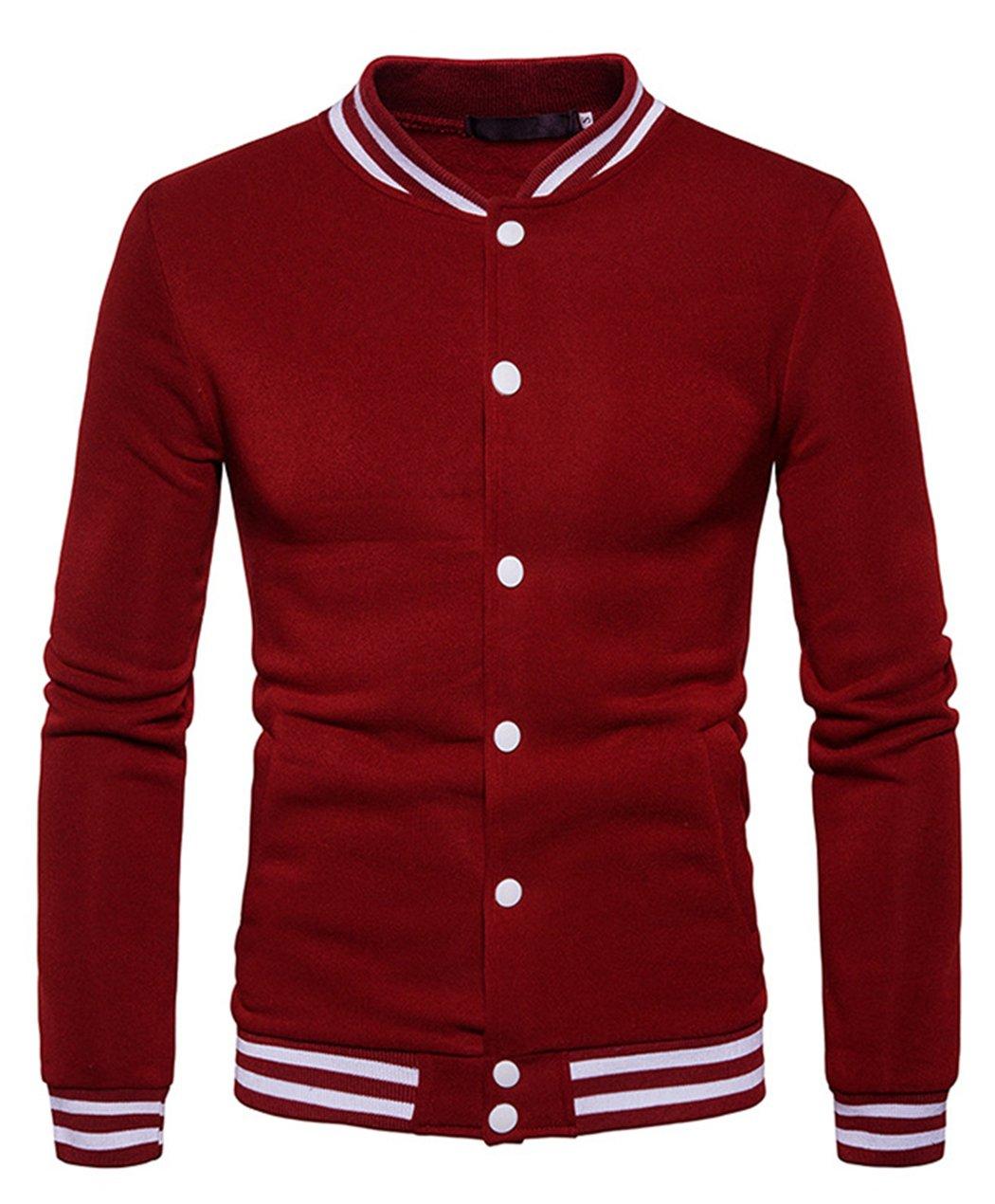 HOP FASHION Mens Casual Long Sleeve Baseball Collar Button Down Varsity Jacket Elastic Hem Lightweight Sport Cotton Coat with Pockets HOPM185-Burgundy-S by HOP FASHION
