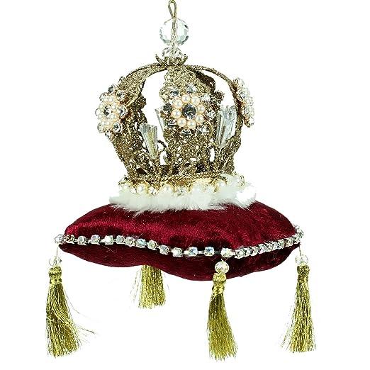 Cojín dorado con corona en rojo, decoración de Navidad de ...