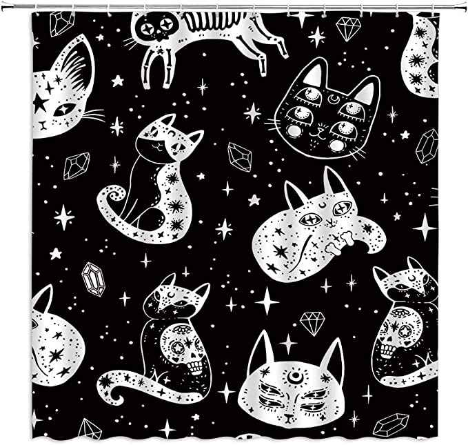 Witch S Cat Shower Curtain Black White Cat Skull Spooky Ghosts Gothic Magic Four Eyed Kitty Star Moon Background For Halloween Kids Pet Lovers Fabric Bathroom Decor Curtain With Hooks 71x71 Inch Kitchen