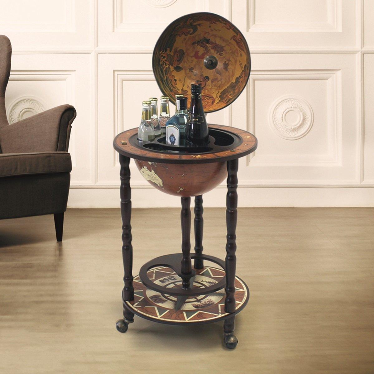 Mueble bar en forma de globo terráqueo. Mini bar con ruedas, diseño retro, para alcoholes y licores, madera, Small diseño retro Deals Online