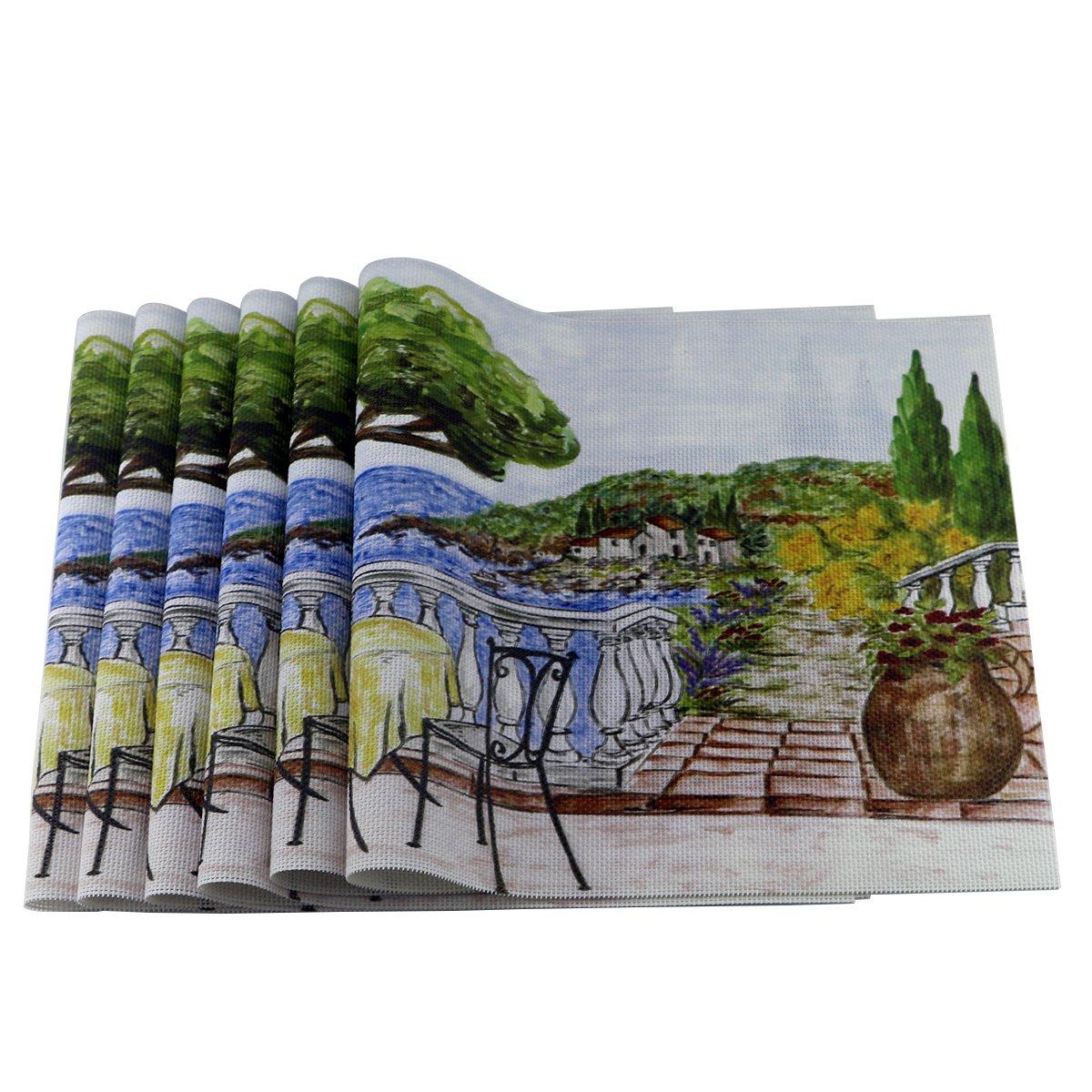 Uniturcky Placemat, PVC Jacquard Woven Vinyl Washable Dining Table Mats,Set of 6 - 30x45 cm