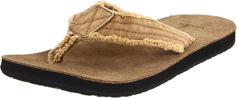 8977c46b8dab2 Amazon.com   Sanuk Men's Fraid Not Flip Flop, Khaki, 8 M US   Sandals