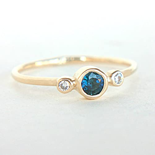 Amazon Blue Sapphire and Diamond Ring 14k Gold Natural