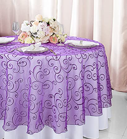 Wedding Linens Direct.Wedding Linens Inc 90 Round Embroidered Organza Sheer Table Overlays Toppers Organza
