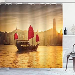 """Ambesonne Sailboat Nautical Shower Curtain, Skyline of Hong Kong Traditional Cruise Sailboat Victoria Harbor, Cloth Fabric Bathroom Decor Set with Hooks, 70"""" Long, Marigold Dust"""