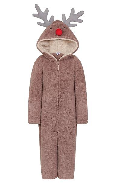 Nifty - Pijama de una Pieza - Manga Larga - para niña Marrón Reno 3 años