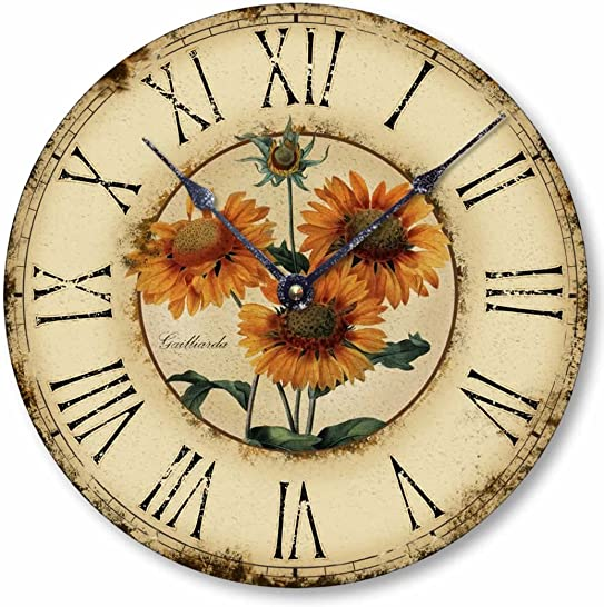 Fairy Freckles Studios Item C1120 Vintage Style 10.5 Inch French Floral Clock