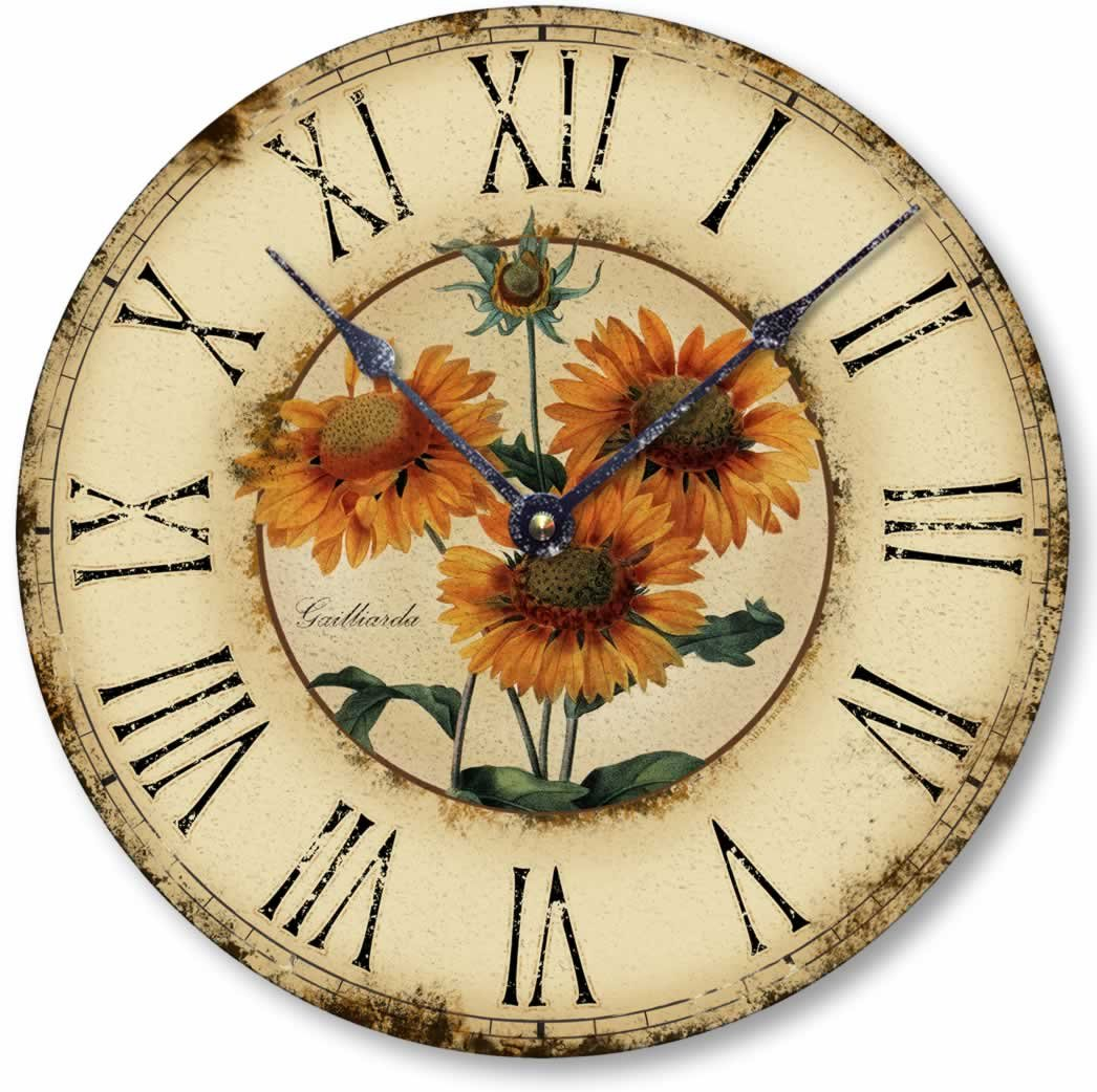 Item C1120 Vintage Style 10.5 Inch French Floral Clock