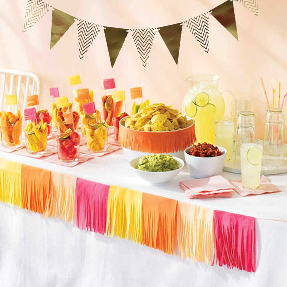 Gold Party Decorations 8 Pcs Paper Fan Flowers 20 Pcs Confetti balloons Pennant Banner 15 pcs Tissue Paper Tassels Garland Birthday Party Supplies for Wedding Baby Shower Outdoor Wall Decorations by RSMY (Image #4)