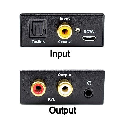 Convertidor Digital a Analógico, AMANKA DAC Audio Óptico Coaxial(RCA) Toslink SPDIF a Audio Estéreo R/L + Jack 3.5mm con Cable Óptico: Amazon.es: ...