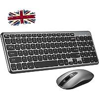 Wireless Keyboard and Mouse Set,【Scissor Key Design, Long Battery Life】Patuoxun Ergonomic 2.4G Cordless Keyboard & Mouse Combo with Nano USB Receiver for Computer PC Apple Mac Windows, UK Layout