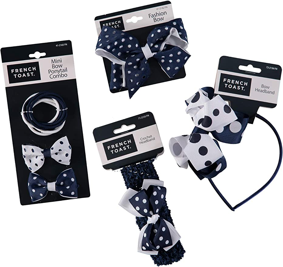 One Size 3-pack French Toast Kids School Uniform Bow Hair Clips and Headband Navy Blue /& White
