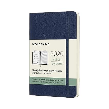 Moleskine - Agenda Semanal de 12 Meses 2020, Tapa Blanda y Goma Elástica, Color Azul Zafiro, Tamaño Pequeño 9 x 14 cm, 144 Páginas