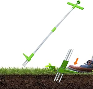 Snow Keychain Stand-Up Weeder Root Removal Tool, Long Handle Garden Weeding Tool with 3 Claws, Reinforced Aluminum Alloy Pole Claw Weeder Root Remover Tool with Foot Pedal for Garden Hand Tool