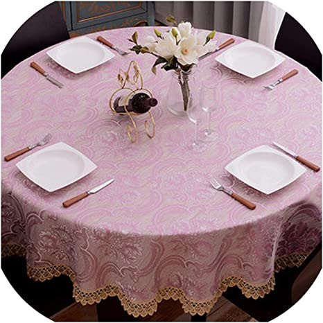 Heart To Heart European Round Table Cloth Cover With Lace Wedding Decoration Dining Table Kitchen Accessories For Home Rectangular Tablecloth Purple Diameter 160cm Home Kitchen