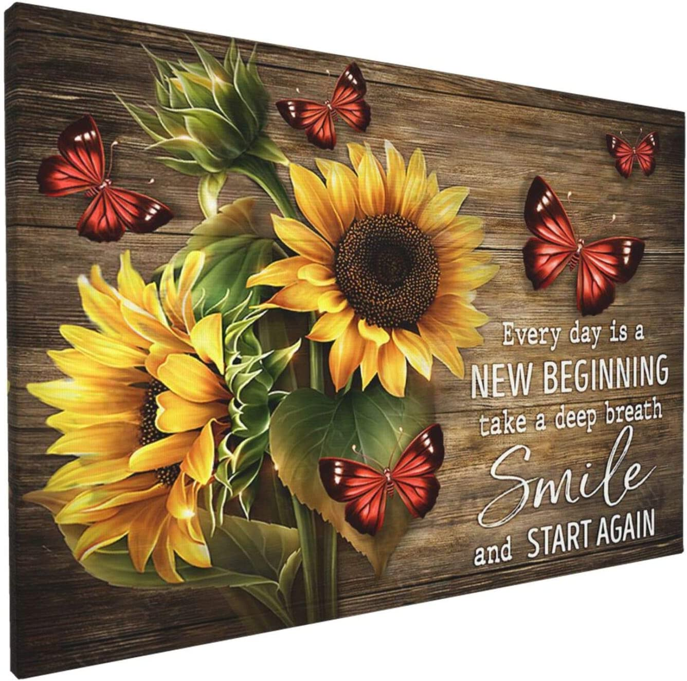 Motivation Quotes Sunflower Wall Art Inspirational Butterflies Paintings Canvas Framed Wall Art For Living Room Ready To Hang Home Decor Bedroom Bathroom Office 12x18 Inch Funny Gifts