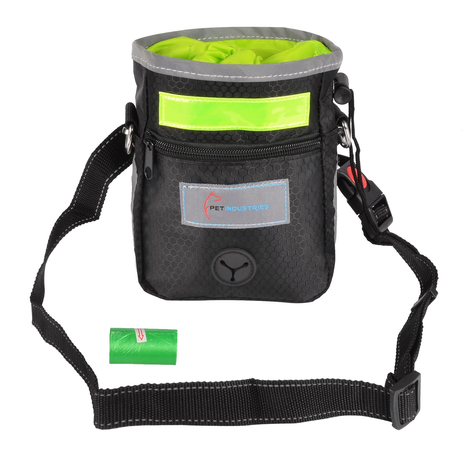 Pet Industries Dog Treat Training Pouch with Poop Bag Dispenser, Waist & Shoulder Reflective Strap, 2 Zippered Pockets and Quick-Access Opening [Premium Edition] (Leaf Green)