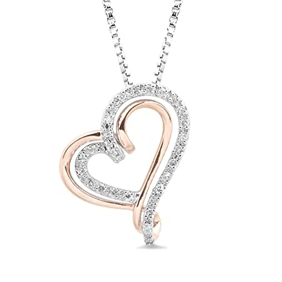9fbb6322da7a31 Image Unavailable. Image not available for. Color: Diamond Heart Necklace  in Sterling Silver and 10k Rose Gold