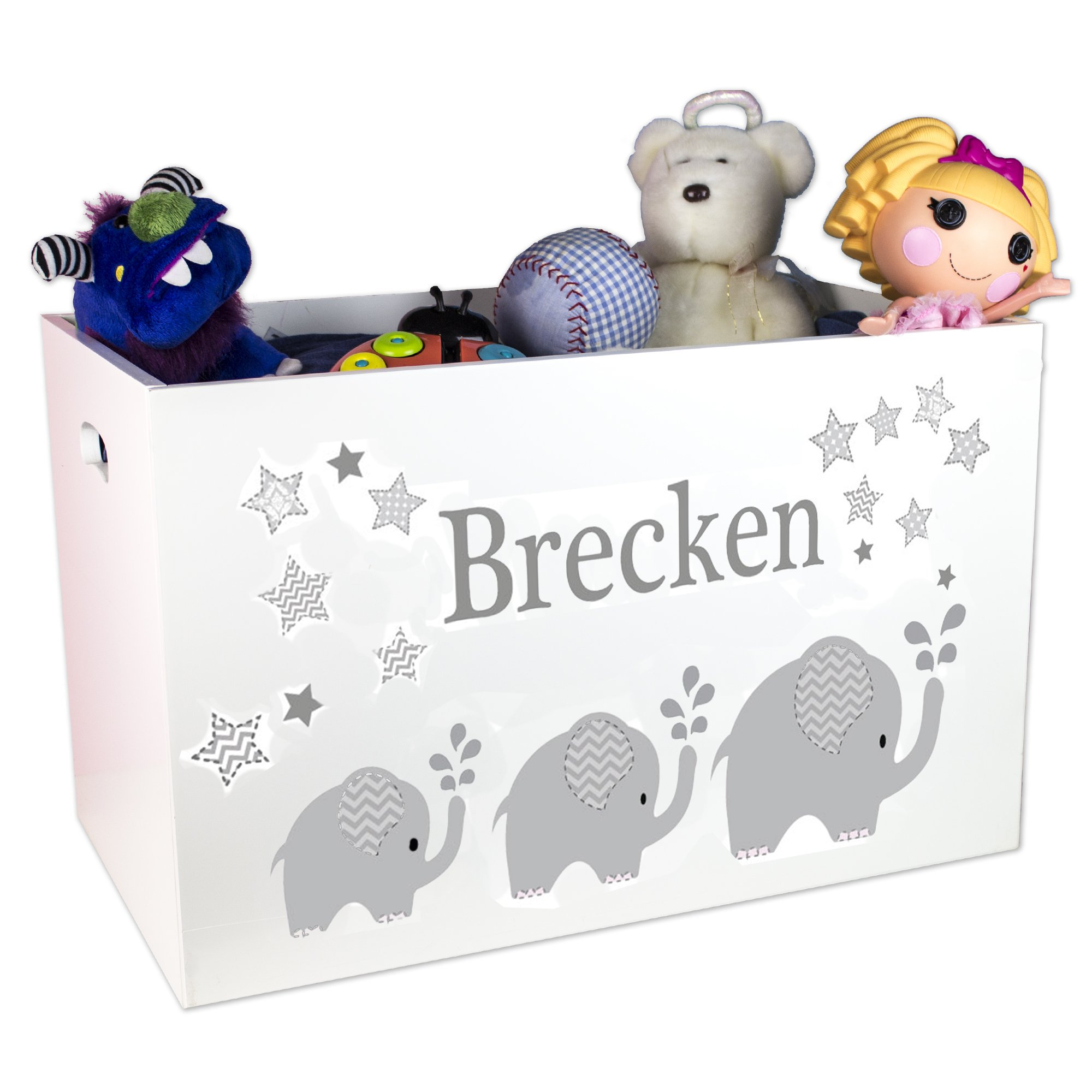 Personalized Boys Gray Elephant Toy Box
