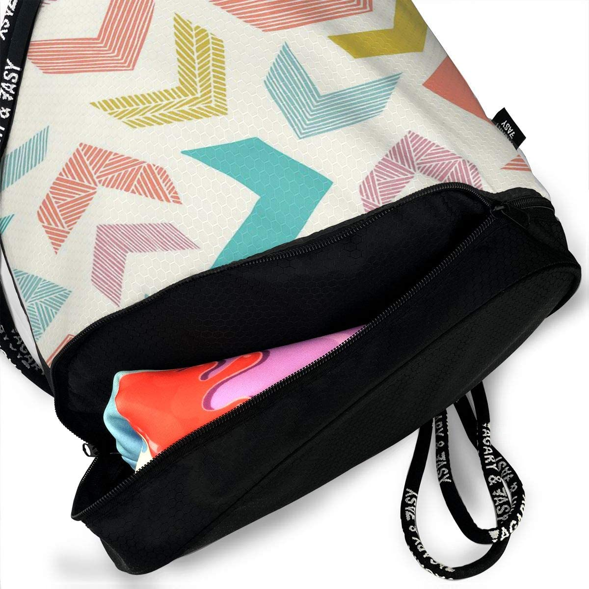 Drawstring Backpack Colorful Chevron Gym Bag