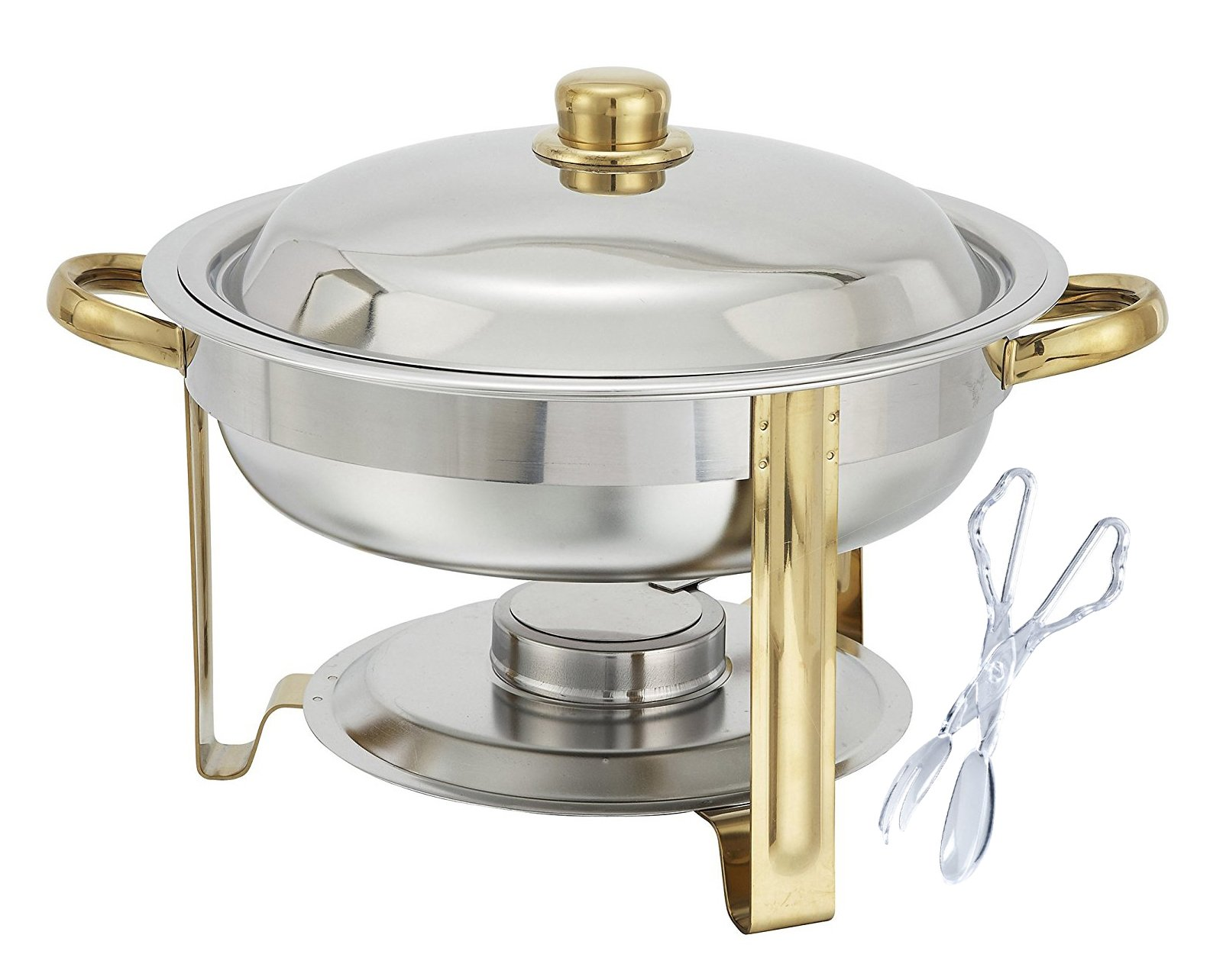 Tiger Chef 4 Quart Round Chafing Dish Buffet Warmer Set, Gold Accented Chafer, Includes a Plastic Tong