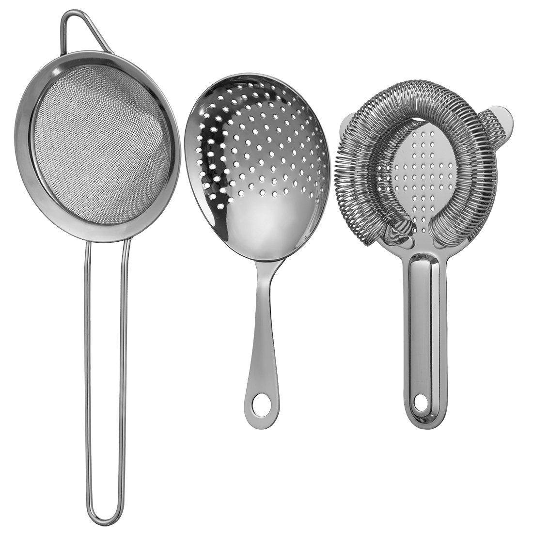 Cocktail Strainer Set for Professional Bartenders and Mixologists – Stainless Steel Hawthorne Strainer, Julep Strainer and Fine Mesh Conical Strainer
