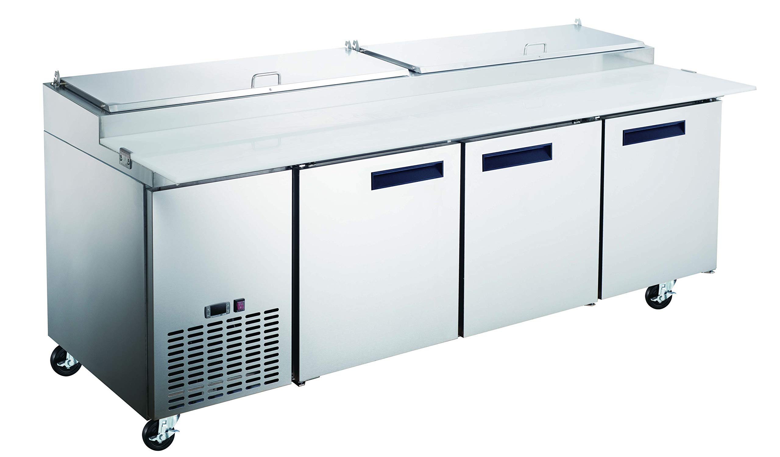 Commercial Grade Pizza Prep Table by Vortex Refrigeration | 3 Door Refrigeration | 26 Cu. Ft. | Includes Polyurethane Cutting Board | 93''W x 33''D x 42''H by Vortex Refrigeration