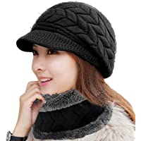14258d5d2af HINDAWI Women Winter Warm Knit Hat Wool Snow Ski Caps With Visor