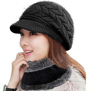 74e9584282ed8b Muryobao Winter Hat Crochet Knit Slouchy Beanie Cap Outdoor Warm ...