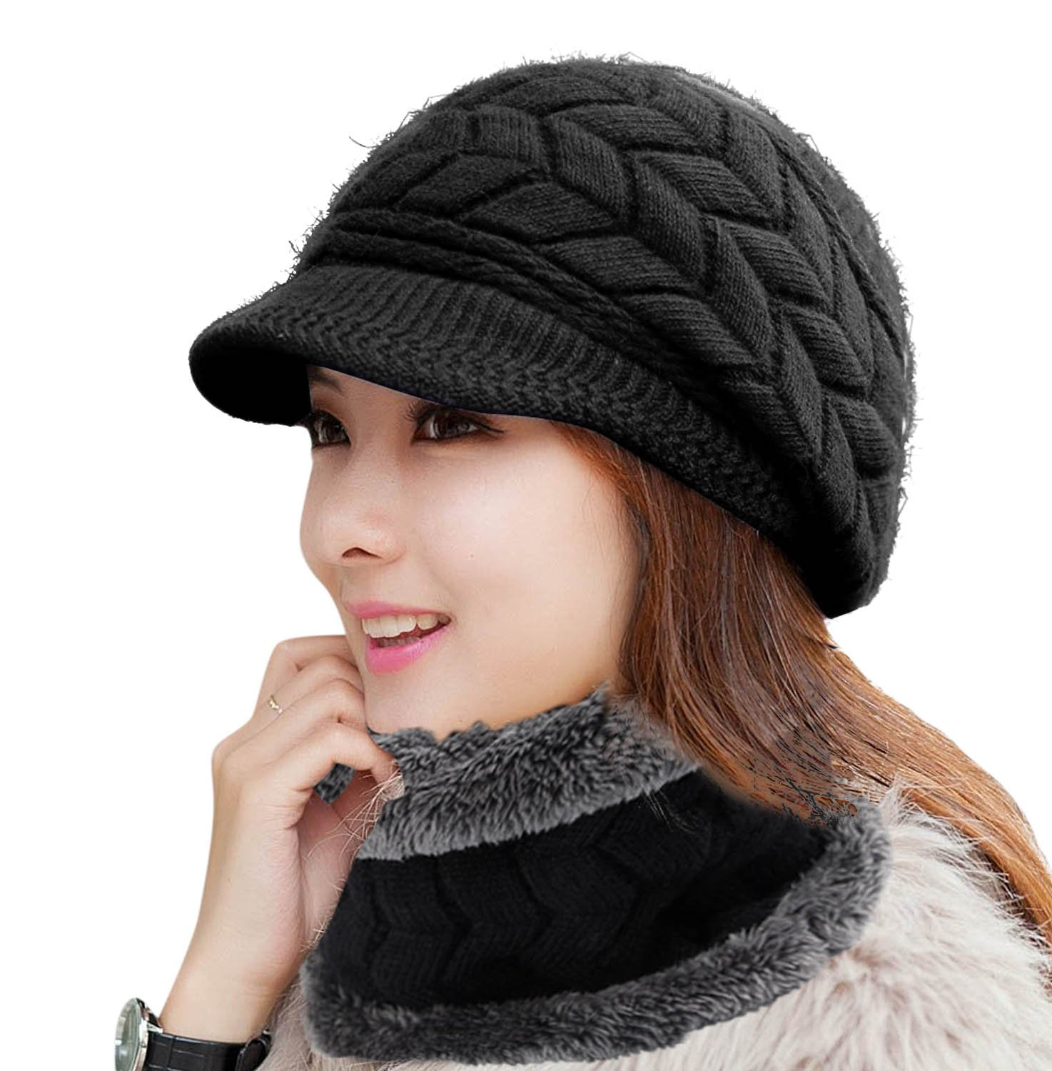 HINDAWI Winter Scarf Hat Visor Caps Infinity Scarves Knit Warm Snow Outdoor Hats for Women Black