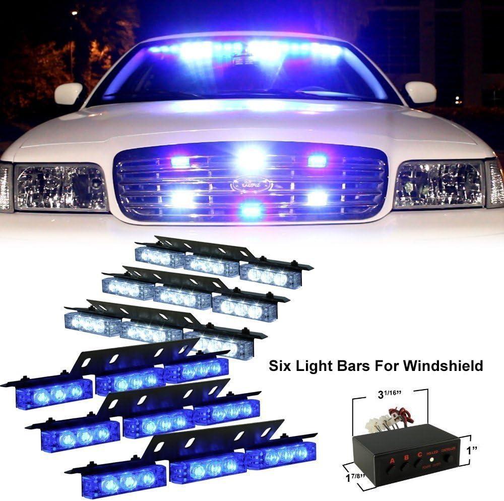 Anzene Luz LED de 54 luces estroboscópicas intermitentes Luces estroboscópicas de emergencia Luces estroboscópicas de vehículos para la parrilla del tablero del parabrisas (Azul/Blanco)