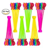Water Balloons, 6 Bunches Colorful Self Seal &Tie Instant Water Balloons with Refilling Kit Easy to Fill in One Minute Perfect for Outdoor Fight Games - Summer Splash Fun for Kids & Adults (222pcs)